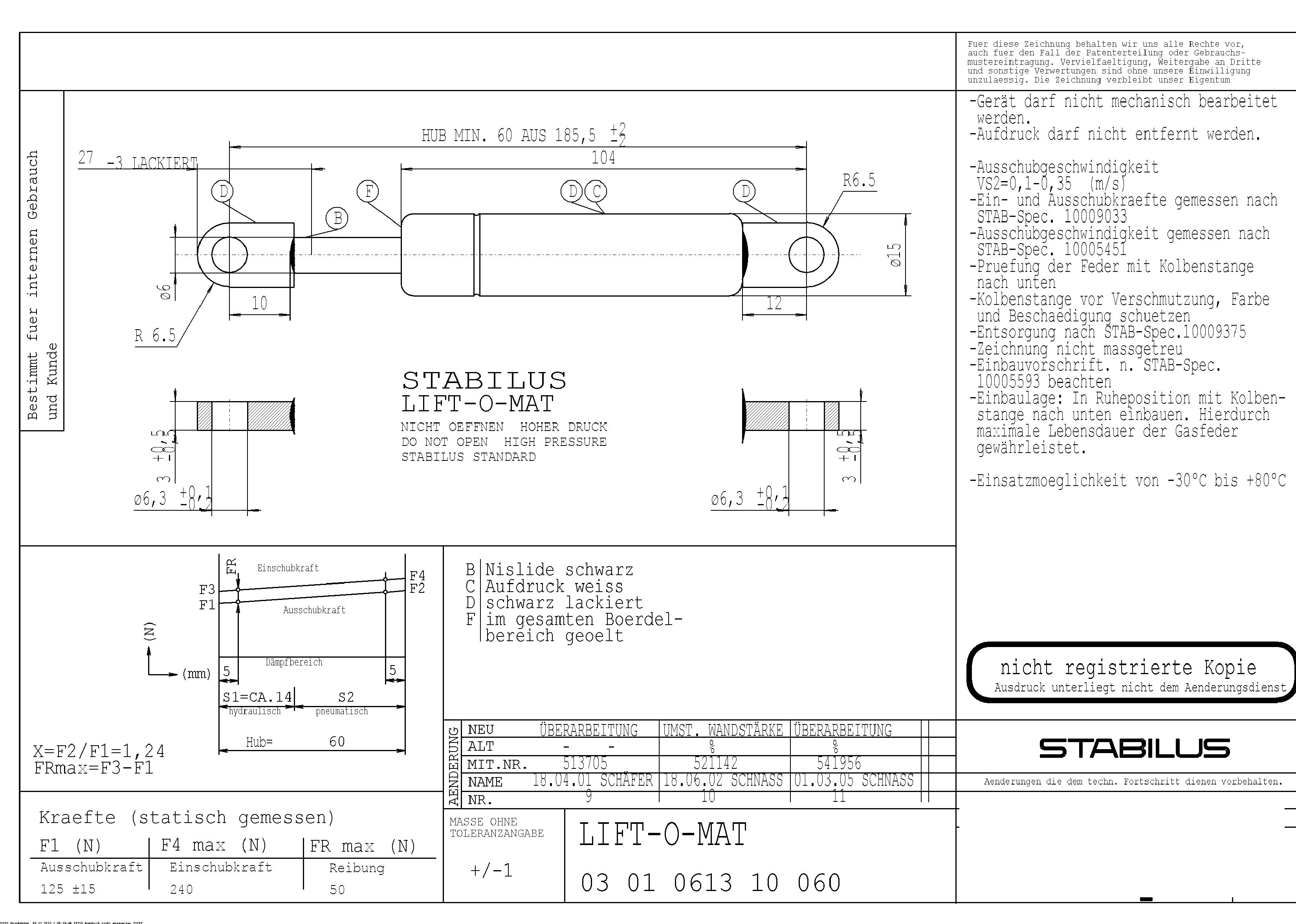Ikea Värde Hängeschrank Gasdruckfeder ~ Ikea Värde Gasfeder LIFT−O−MAT 236195 0125N Zugkolben